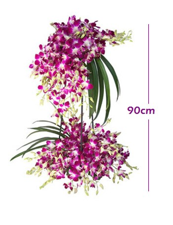 Two layer Orchid arrangement on a stand