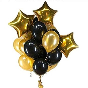 Black & Gold Solid Party Balloons
