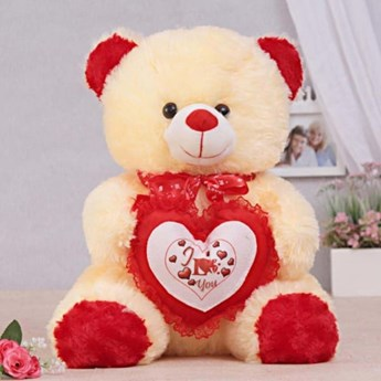 Cream Teddy With Heart 40 cm