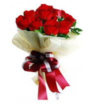 Bunch of 12 Red Roses with Net Packing