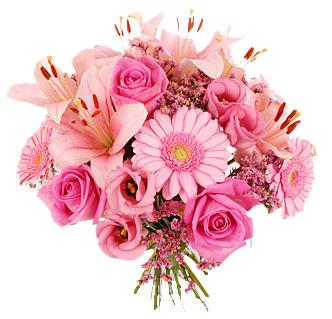 Pink Lilies , Roses & Gerberas