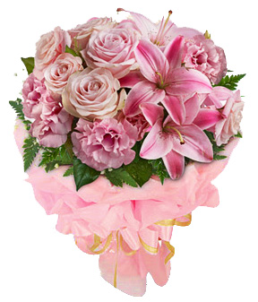 Pink Lilies , Roses & Carnations