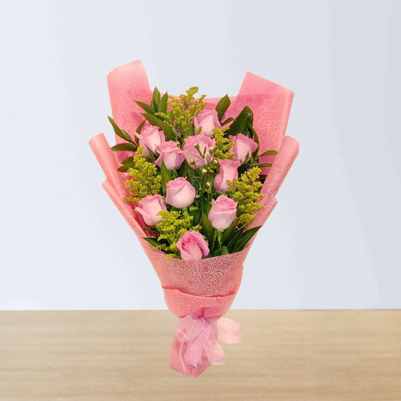 Greenery Pink Roses Bouquet