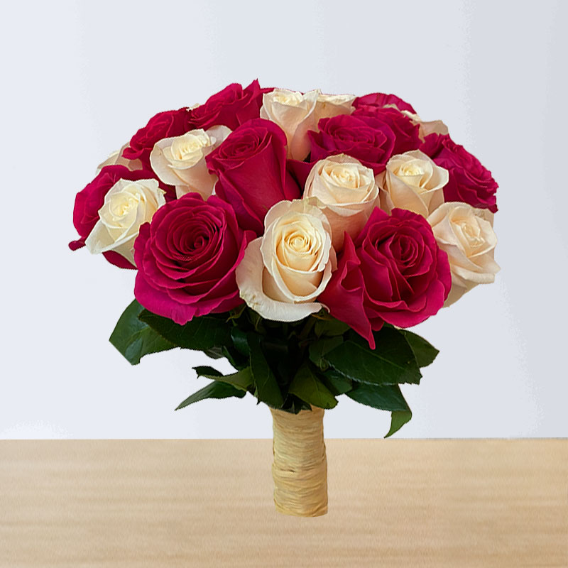 Pink and White Roses Hand Bouquet