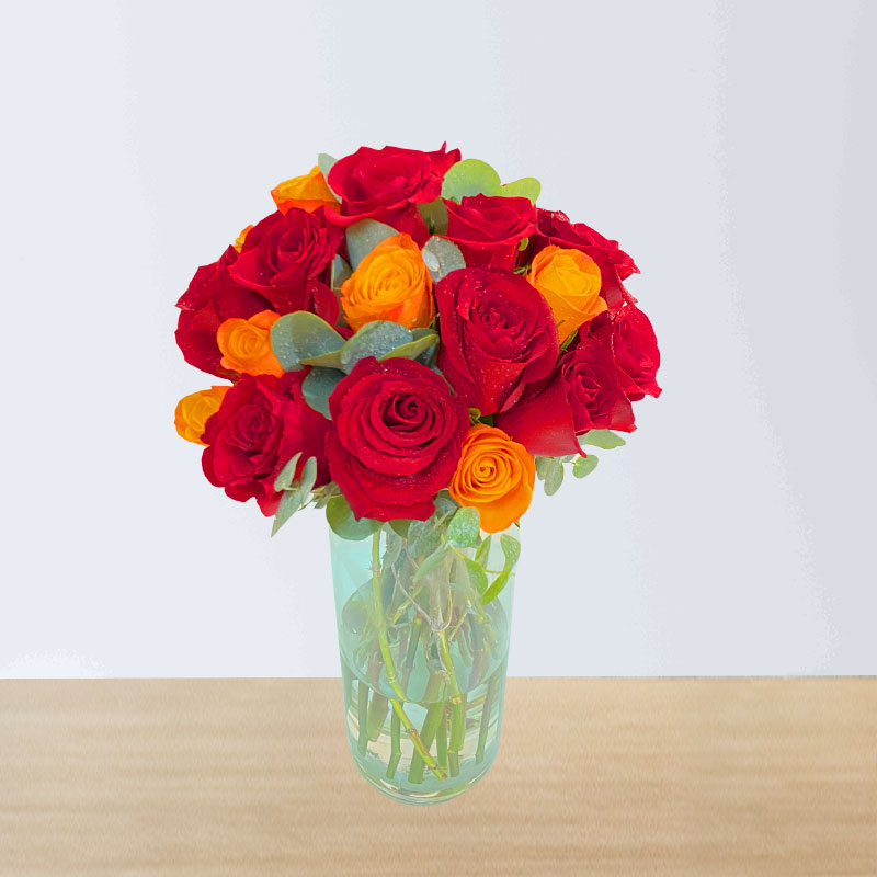 Red and Orange Rose Bouquet