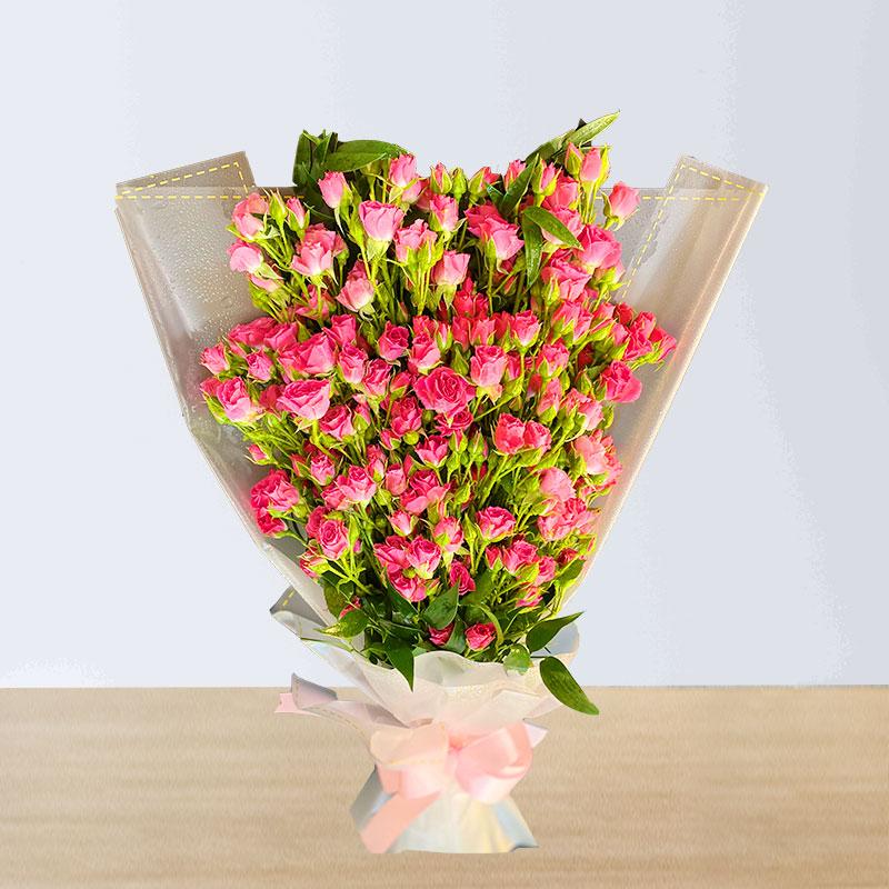 Deeply Pink Spray Rose Boquet