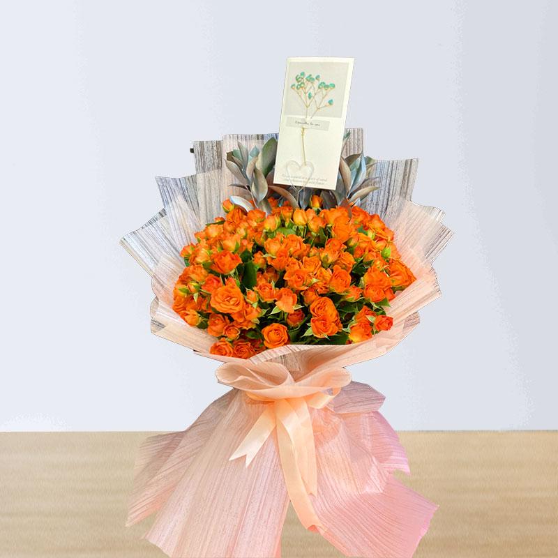 Orange Spray Roses Bouquet