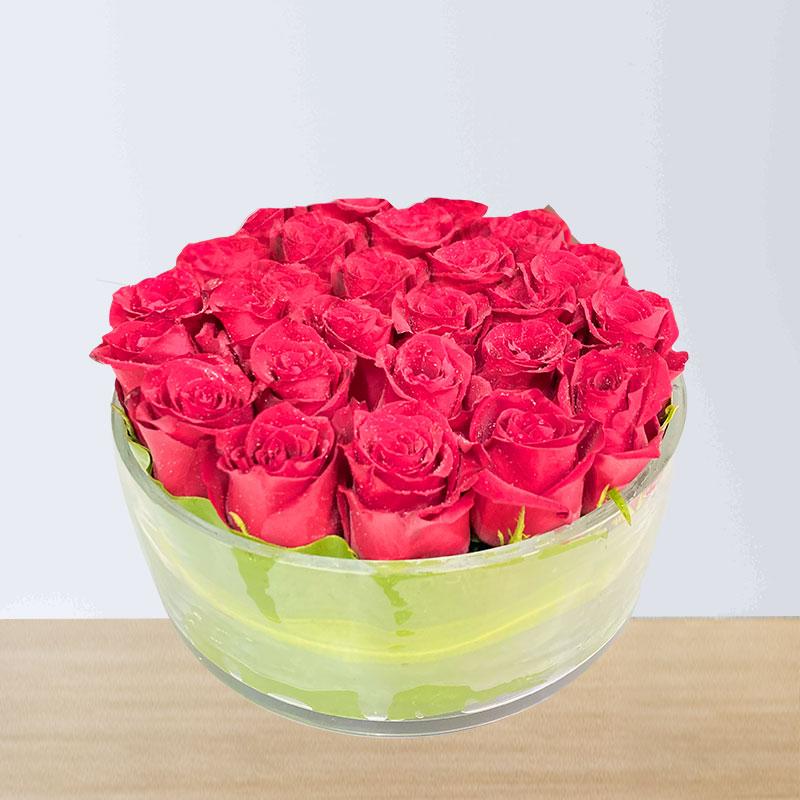 Red Roses Glass Vase