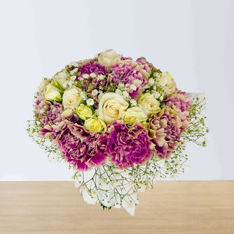 Carnations and Roses Wedding Hand Bouquet