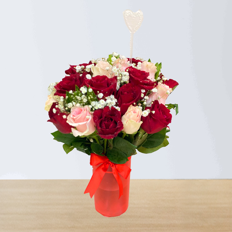 Stems of 24 Pink and Red Roses