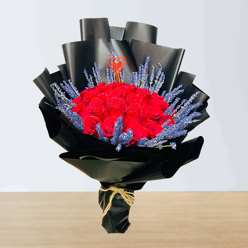 Stems of Red Rose Hand Bouquet