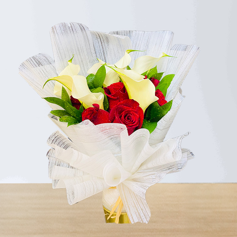 white calla lily and Red Rose