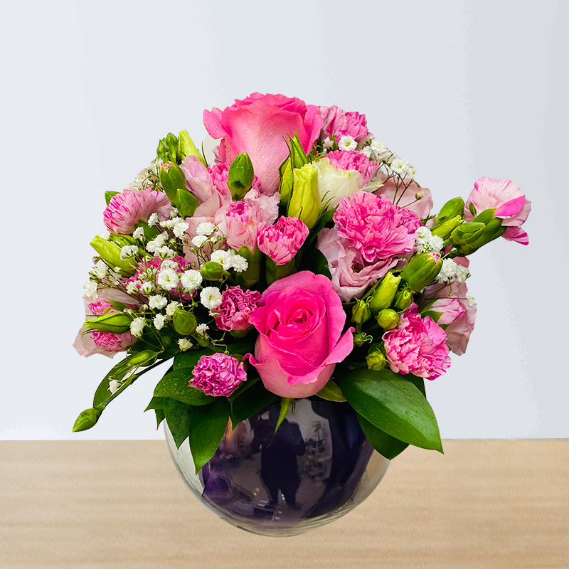Pink Roses and Pink Spray Carnations