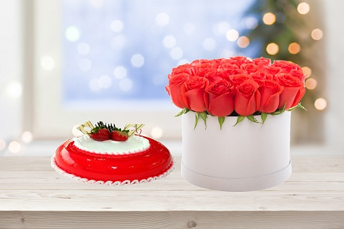 Radiant Roses & cake Arrangement
