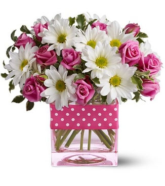 Vase with 10 Stems Of Pink Roses & 5 Stems of White Chrysanthemums