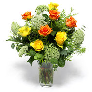 Vase with 10 Stems of Orange & Yellow Roses with Lady Lace