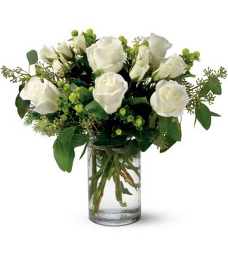 Vase with 10 Stems of White Roses & greens