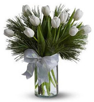 Vase with 10 Stems of White Tulips