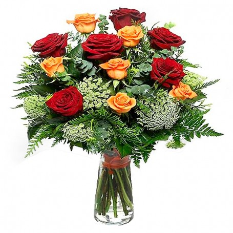 Vase with Red & Orange Roses