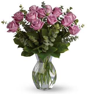Vase with Stems of Purple Roses