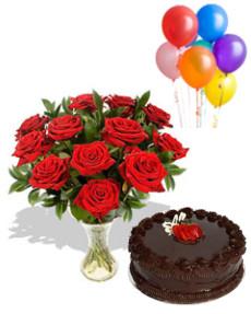 Roses, Cake & Balloons