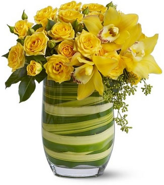 Vase with 15 Stems of Yellow Roses & Cymbidium Orchids