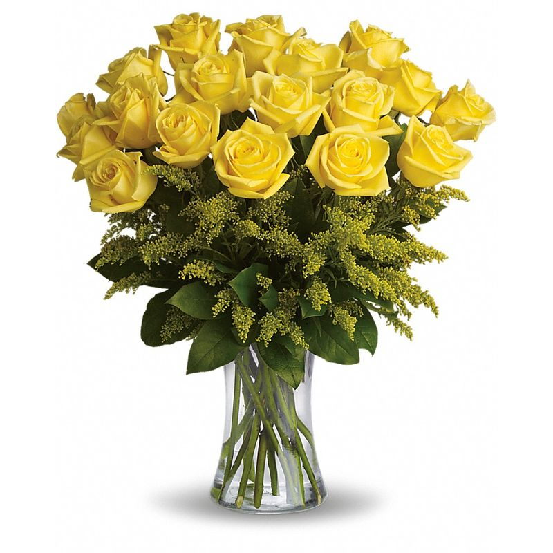 Vase with 20 Stems of Yellow Roses