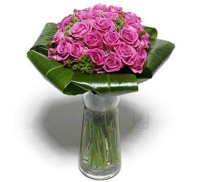 Vase with 30 Purple Roses , with folded green leaves