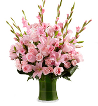Vase with 5 Pink Lilies , 10 Pink Gladioli , 10 Pink Roses & 10 Pink Carnations