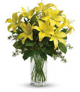 Vase with 5 Stems of Yellow Lilies