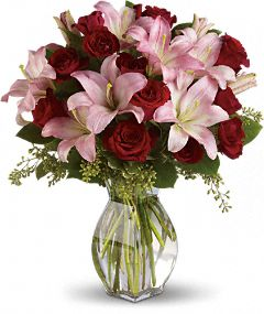 Pink Lilies & Red Roses