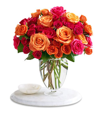 Vase with 60 Stems of Mixed Coloured Roses