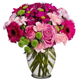 Vase with 6 Pink Roses , 6 Pink Carnations & 6 pink Gerberas