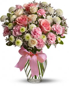Vase with Mixed Pink & White Roses , Carnations & Crysanthimums