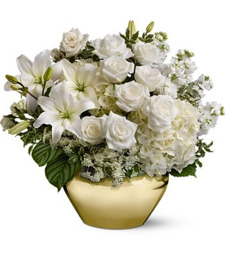 Vase with White Lilies, White Roses & Mixed White Flowers