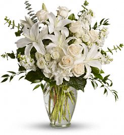 Vase with White Lilies , White Roses & White Carnations