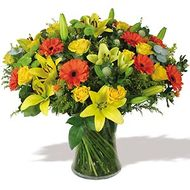 Vase with Yellow Roses , Orange Gerberas & Yellow Lilies