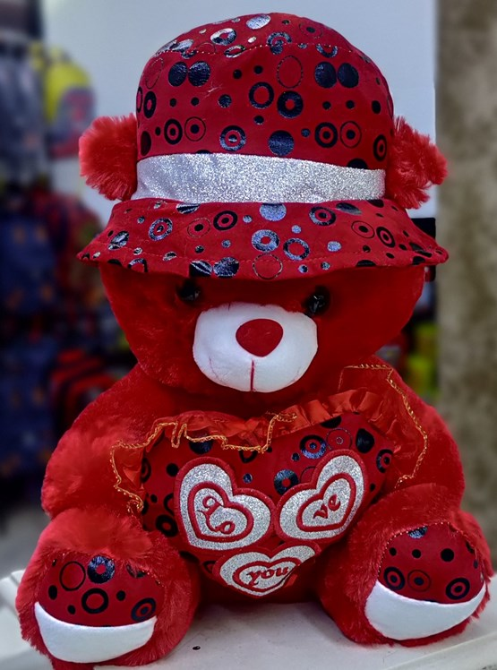 Red Teddy With Red Cap & Heart (40cm)